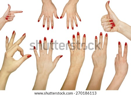 Collection of hand gestures isolated on white background  - stock photo