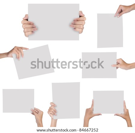 collection of hand holding blank paper isolated on white background - stock photo