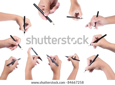 collection of hand holding pen isolated on white background - stock photo