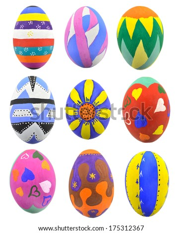 Collection of hand-painted Easter eggs isolated on white - stock photo