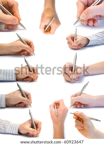 Collection of hands with the handle isolated on white background - stock photo