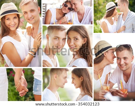 Collection of happy amorous dates - stock photo