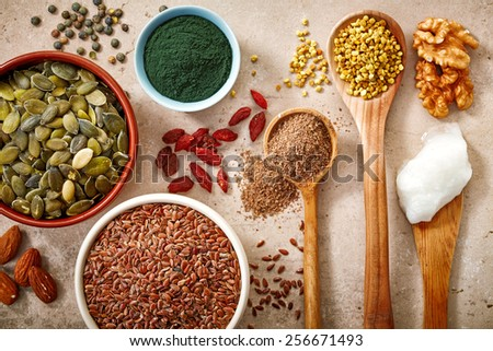 collection of healthy superfood, top view - stock photo