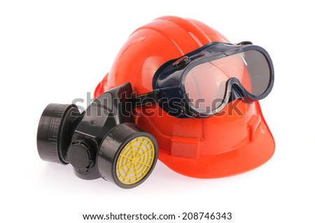 Collection of Helmet, Chemical protective mask and eye protection or goggles on white background - stock photo