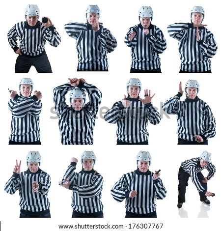 Collection of Hockey referee images with some penalty signals. On the white background - stock photo