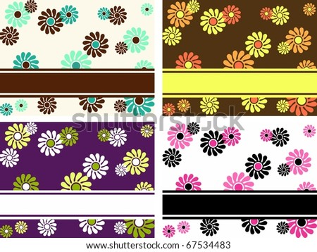 Collection of horizontal retro banners with large flowers (jpg); vector version also available - stock photo