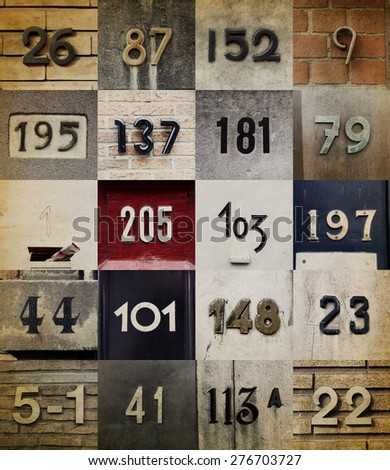 Collection of House numbers  - stock photo