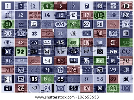Collection of House numbers one to hundred - stock photo