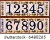 Collection of house numbers / plates with Mediterranean motives - stock photo