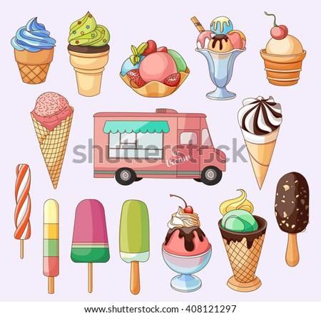 Collection of Ice Cream Design Elements - stock photo