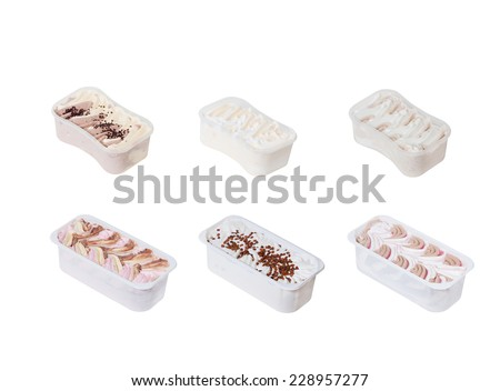 collection of ice creams in plastic packaging - stock photo