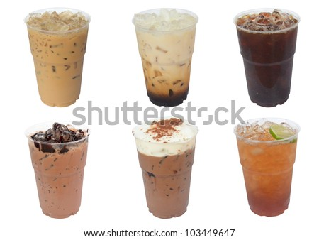 Collection of iced drinks isolated on white background - stock photo