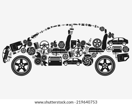 Collection of icons arranged in the shape of the car. The concept of automotive subjects.  - stock photo