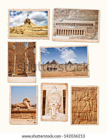 Collection of images from the ancient wonders of Egypt. - stock photo