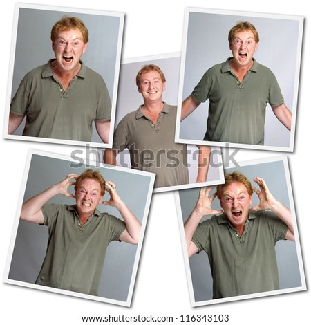 Collection of images of a man with different emotions, anger, laughter - stock photo