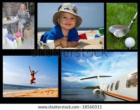 collection of images with holiday travel theme - stock photo
