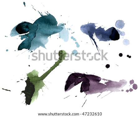 collection of ink splashes - stock photo