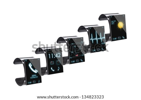 Collection of Internet Smart Watches, isolated on white  --  All Texts, Icons, Computer Interfaces where created from scratch by myself. - stock photo