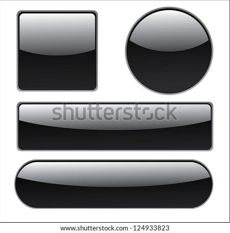 Collection of isolated buttons in different shapes. - stock photo