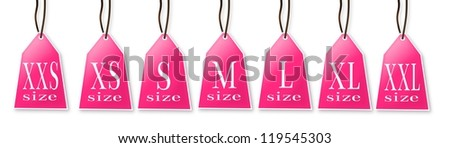 Collection of isolated clothing size labels. - stock photo