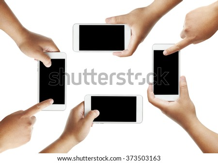 collection of Isolated male hands holding the phone similar like iphone in white background  - stock photo