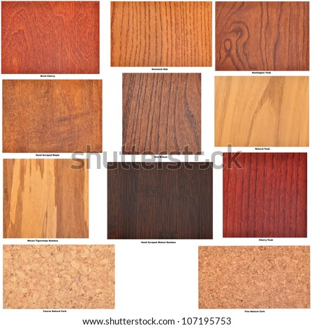 Collection of isolated wooden flooring samples, with identifying captions - stock photo