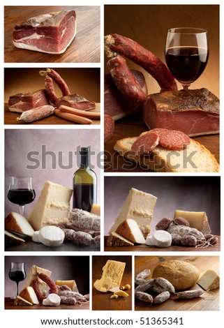 collection of italian cheese and salami - stock photo
