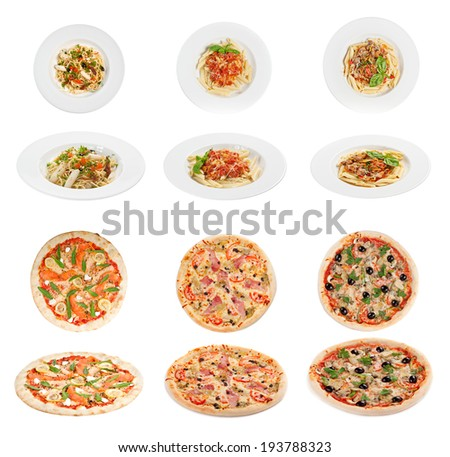 Collection of italian pasta and pizza  isolated on white background - stock photo