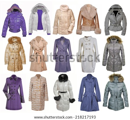 collection of jacket isolated on white - stock photo