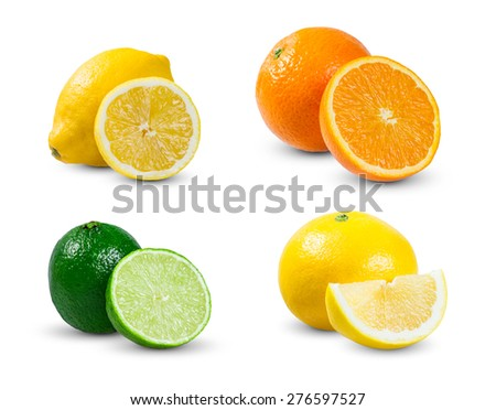 Collection of juicy citrus  slices fruits - orange, lemon (yellow lime), lime and grapefruit. rich with vitamins. isolated on white background. - stock photo