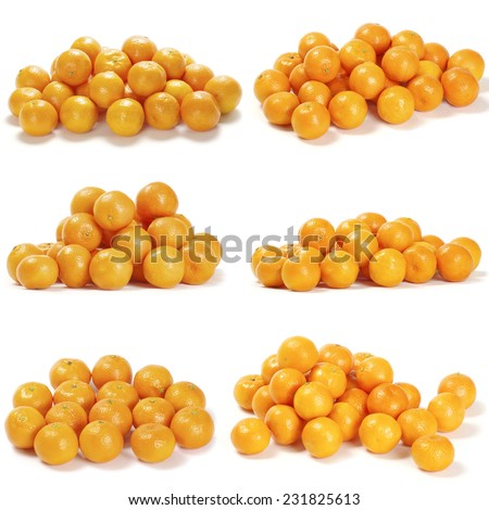 Collection of juicy tangerines or mandarins isolated on white background - stock photo