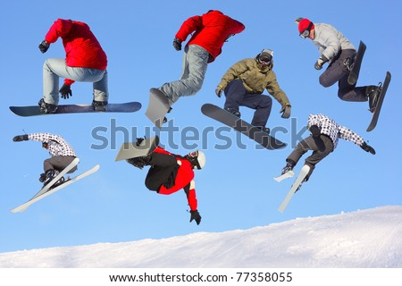 Collection of jumping ski and snowboard riders on blue clear sky background - stock photo