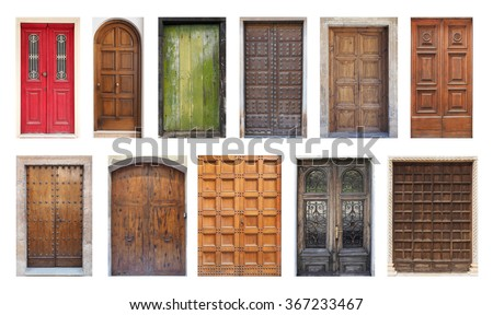 Collection of Large European Antique Doors Isolated on White - stock photo