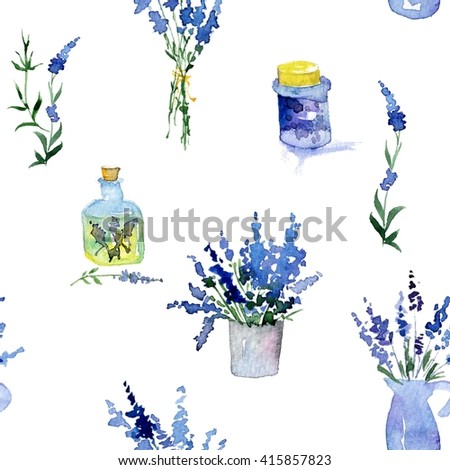 Collection of lavender flowers on a white background. Vintage flowers seamless pattern. Herbs from garden. Herbs isolated on white. Herbs plant. Gardening country design. florist, plant decoration.  - stock photo