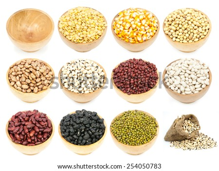 collection of legumes in the cup isolated on white background - stock photo