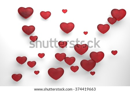 Collection of love hearts - stock photo