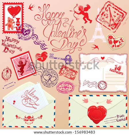 Collection of love mail design elements - stamps, envelops, postcard - Valentine`s Day or Wedding postage set. Raster version - stock photo