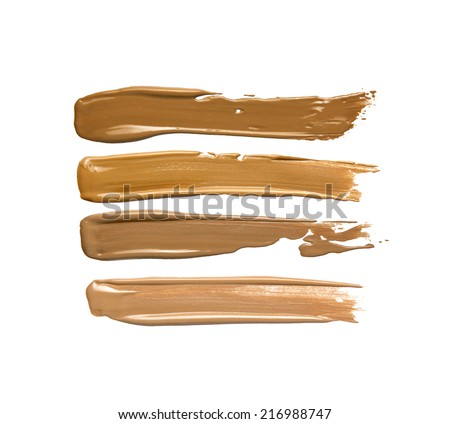 Collection of make up liquid foundation strokes on white  - stock photo