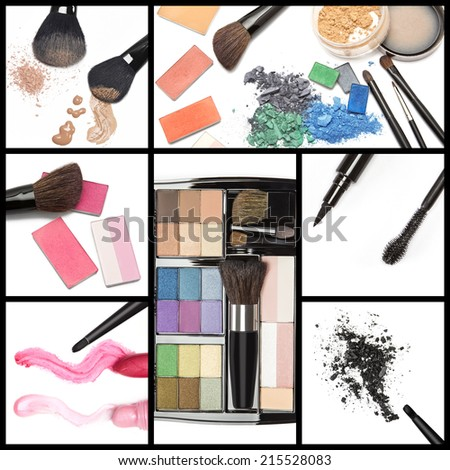 Collection of makeup cosmetics: foundation, cosmetic powder, blush, lip gloss, lipstick, eyeshadow, eyeliner with mascara brush, professional makeup palette. Collage made of seven images - stock photo