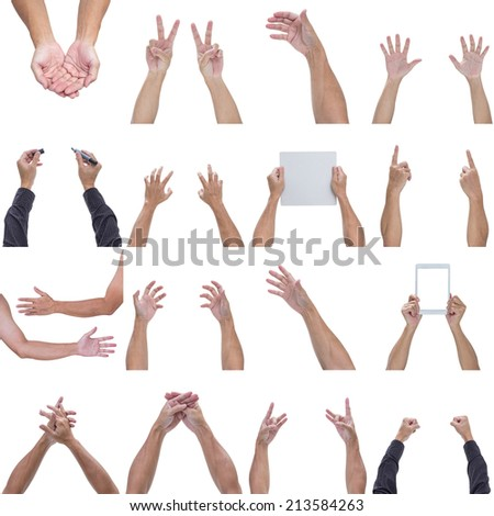 Collection of man hands - stock photo