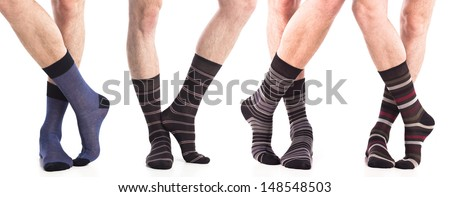 collection of man socks on foot - stock photo