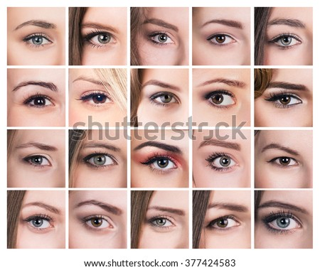 Collection of many female eyes - stock photo