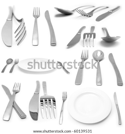 Collection of many silverwares isolated on white background - stock photo