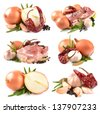 Collection of meat and seasonings - stock photo