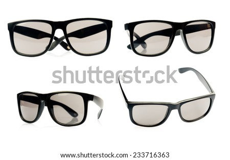 Collection of modern sunglasses isolated on white - stock photo