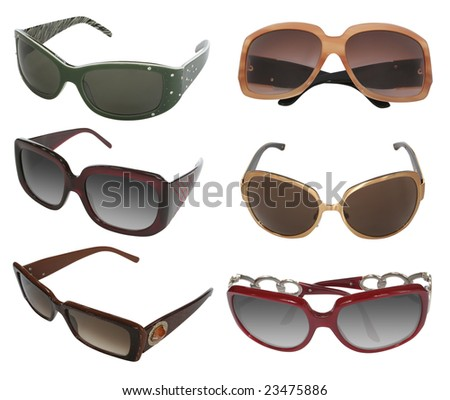 collection of modern sunglasses isolated on white background - stock photo