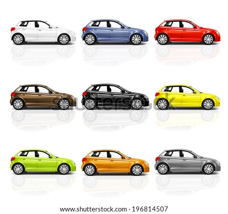 Collection of Multicolored 3D Modern Cars - stock photo