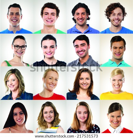 Collection of multiracial group of smiling people - stock photo