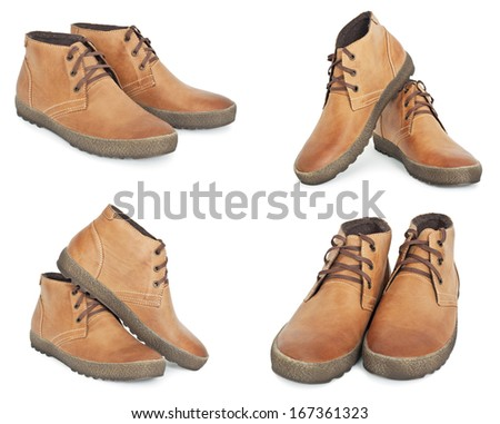 Collection of new brown leather winter boots - stock photo