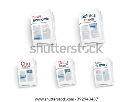 Collection  of newspapers on white background. News of the politics government economic business sport entertainment - stock photo